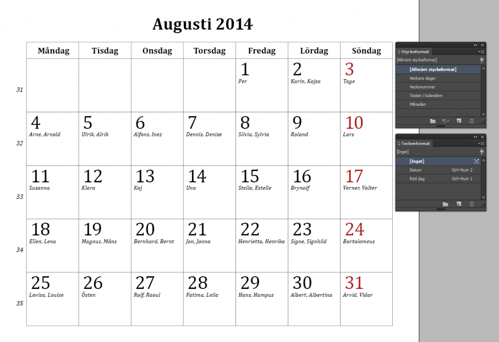 KALENDER augusti 2014 - december 2015